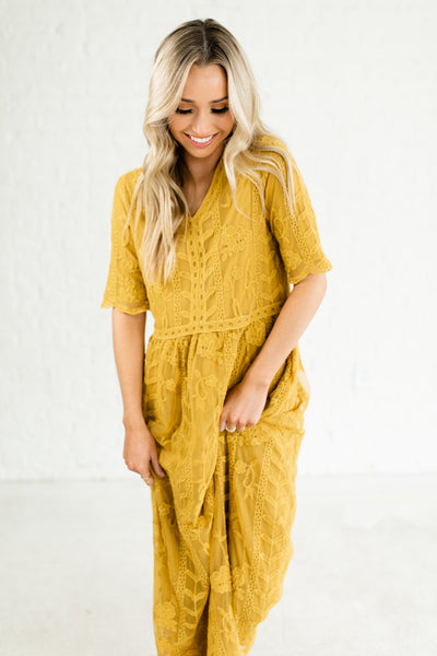 Mustard Yellow Gorgeous Embroidered Floral Lace Overlay Maxi Long Dresses Boutique