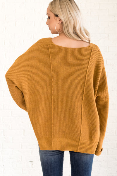 Mustard Gold Yellow Pullover Boyfriend Sweaters for Winter Warmth