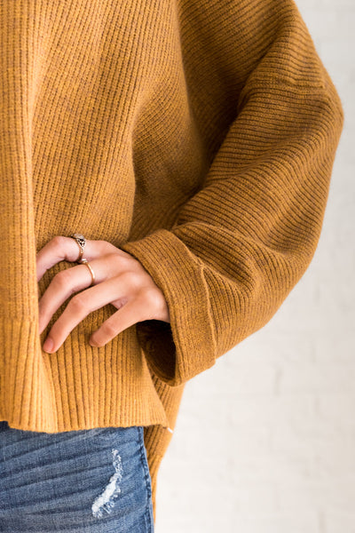 Mustard Yellow Cute Knit Boyfriend Relaxed Oversized Sweaters