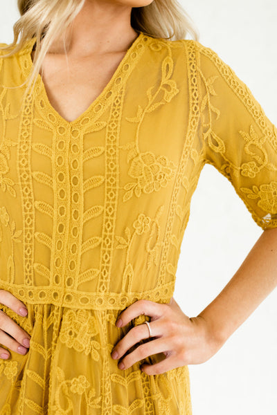 Mustard Yellow Cute Embroidered Lace Overlay Maxi Dresses Affordable Online Boutique