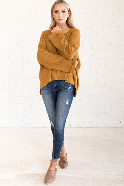 Mustard Yellow Sweater with Exposed Seams and V Neck