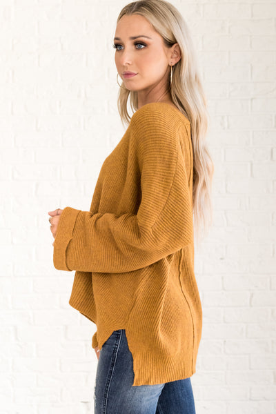 Mustard Yellow Cute Oversized Boyfriend Sweaters for Fall and Winter