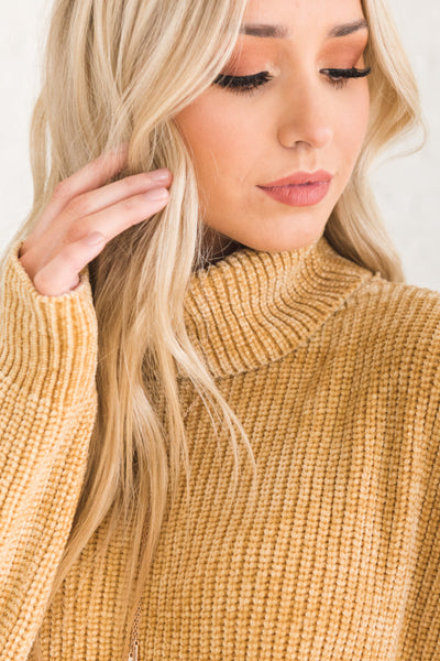 Topaz Mustard Yellow Chenille Sweaters with Turtleneck Cowl Neck