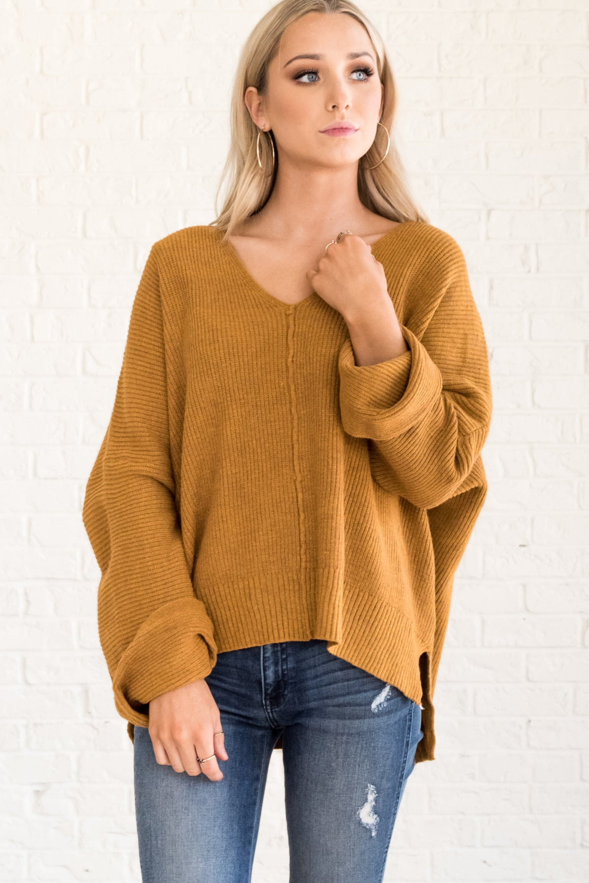 Mustard Yellow Oversized Boyfriend Pullover Knit Sweater Warm Cozy