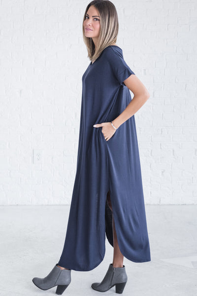 Navy Blue Womens Maxi Dresses with Pockets from Affordable Online Boutique