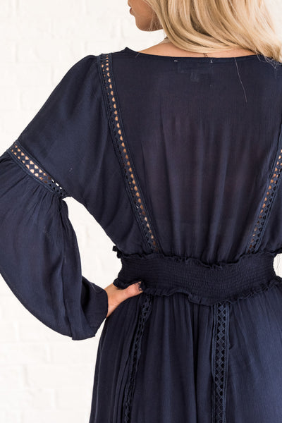 Navy Peasant Maxi Dress with Cute Crochet Details and an Elastic Waist