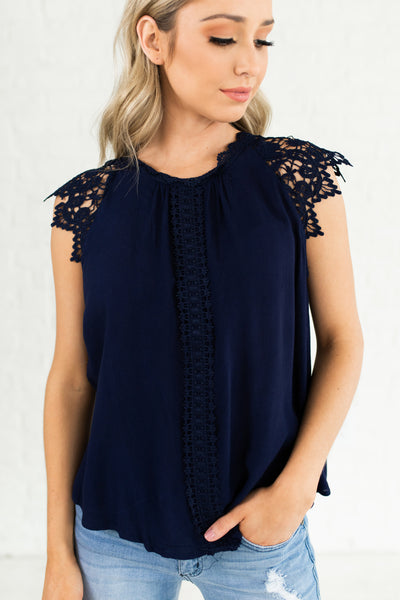 Navy Blue Sleeveless Crochet Lace Blouses Affordable Online Boutique Fashion