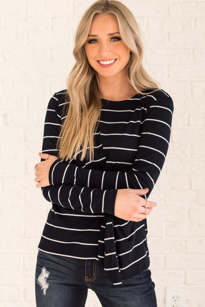 Navy Blue White Striped Asymmetrical Front Knot Long Sleeve Cute Tops