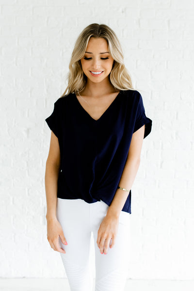 Navy Blue Keyhole Back Cuffed Sleeve Infinity Knot High Low Tops