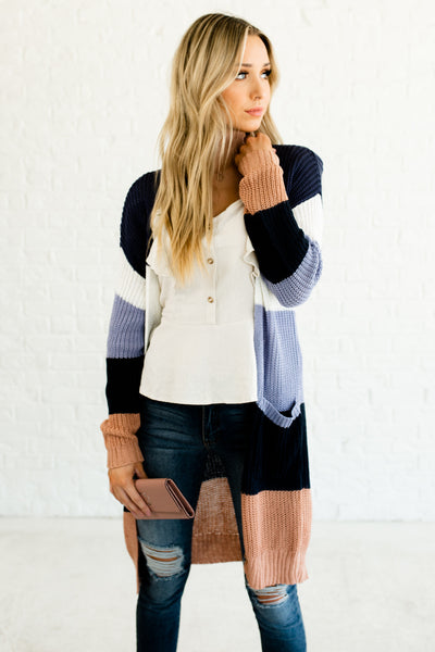 Navy Blue White Periwinkle Rose Gold Color Block Lightweight Knit Cardigan Sweaters