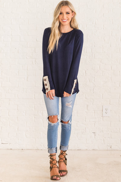 Navy Blue Long Sleeve Top Lace Button Accents Fall Winter Womens Fashion Boutique
