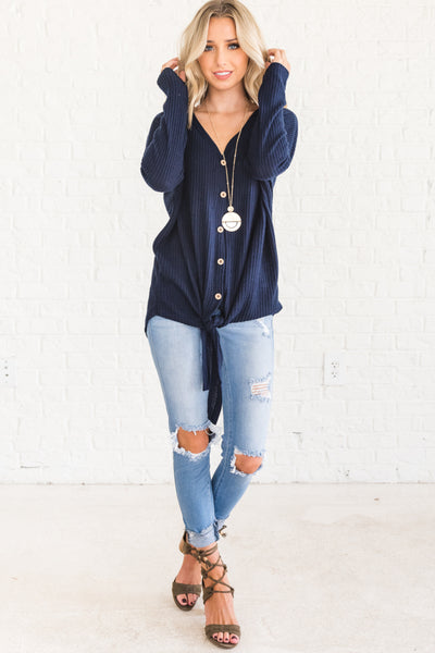 Navy Blue V Neck Waffle Knit Top with Button Up Front Knot TIe