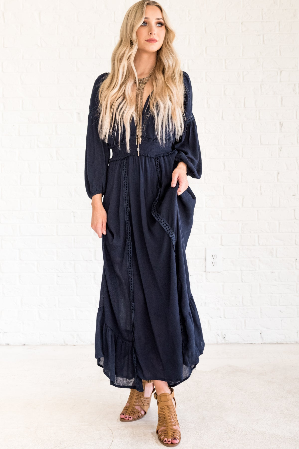 Navy Blue Cute Boho Chic Crochet Maxi Dress with Skirt Lining