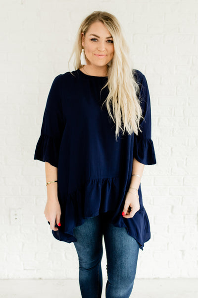 Navy Blue Plus Size Curvy Affordable Online Boutique Ruffle Tops with Longer Length