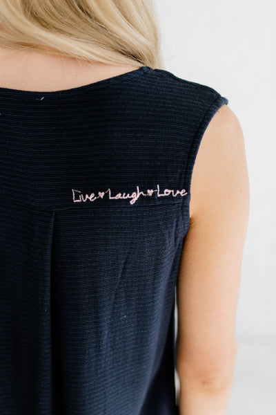 Navy Blue Embroidered Live Laugh Love Frayed Hem Button Up Tank Tops Boutique