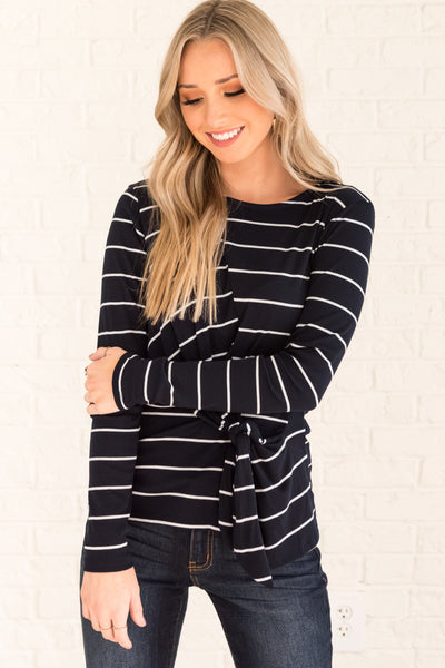 Navy Blue with White Striped Long Sleeve Front Knot Tops for Women