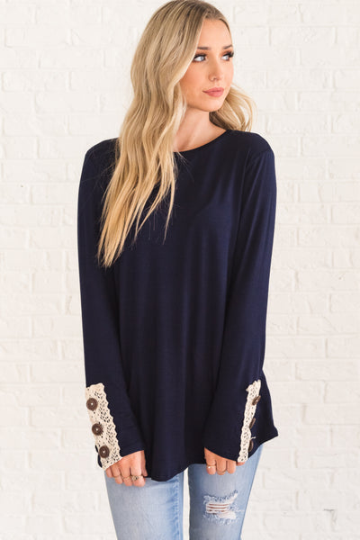 Navy Blue Long Sleeve Top with Lace Button Sleeves Affordable Online Boutique