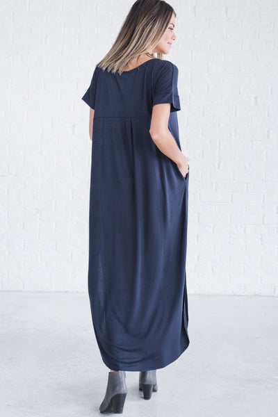 Navy Blue Cute Boutique Maxi Long Full Floor Length Dresses for Women