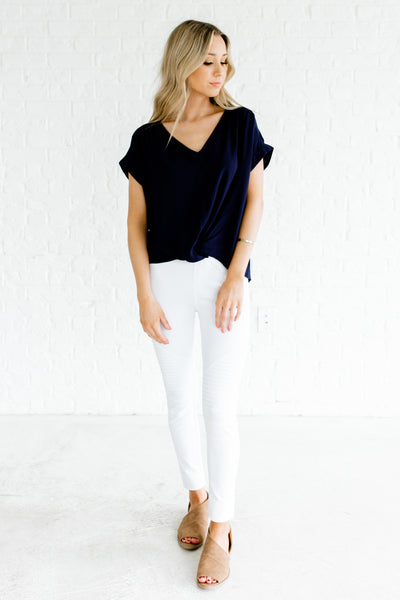 Navy Blue Infinity Knot Tops Affordable Online Boutique Business Casual Fashion