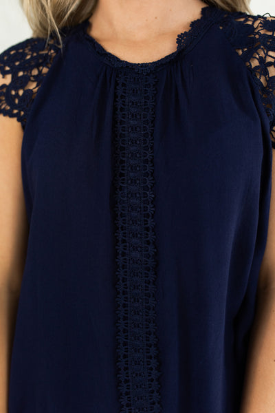 Dark Navy Blue Crochet Lace Sleeve Details Business Casual Sleeveless Blouses for Women