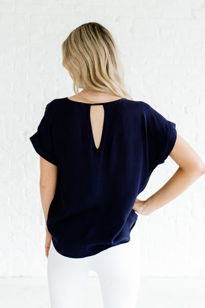 Navy Blue Cute Infinity Knot Boutique Tops for Women