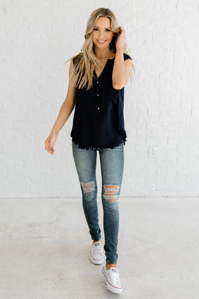 "Navy Blue Cute Button Up Pocket Front ""Live Laugh Love"" Embroidered Affordable Online Boutique Top"