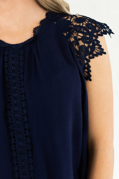 Navy Blue Crochet Lace Cap Sleeve Beautiful Intricate Business Casual Tops and Blouses