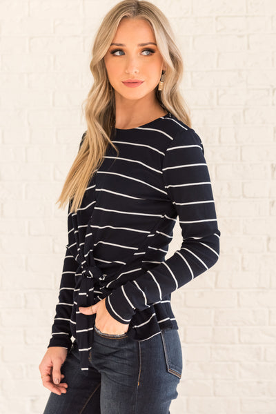 Navy Blue White Striped Long Sleeve Boutique Tops with Front Knot