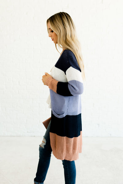 Navy Blue White Peachy Pink Color Block Striped Cute Knit Cardigans for Women