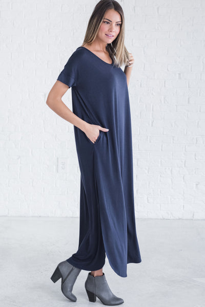 Navy Blue Cute Best Maxi Dress Comfy Stretchy Soft Material