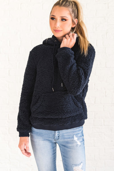 Navy Blue Soft Fluffy Teddy Pullover Hoodies Winter Womens Fashion Boutique