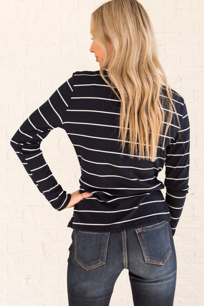Navy Blue White Striped Cute Front Knot Long Sleeve Tops Online Boutique