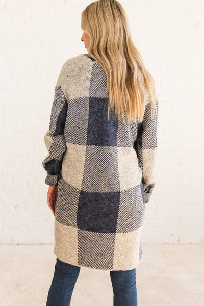 Navy Blue Plus Size Checkered Plaid Cardigan Sweater Outerwear