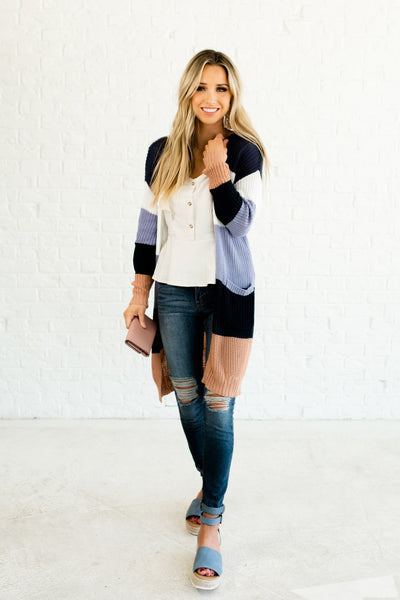 Navy Periwinkle White Rose Gold Cute Color Block Cardigans Affordable Online Boutique Outerwear
