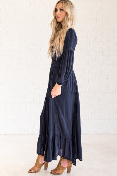 Navy Blue Cute Boho Crochet Maxi Winter Dresses from Affordable Online Boutique
