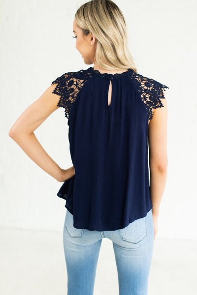 Navy Blue Crochet Lace Keyhole Back Lightweight High Quality Boutique Blouses