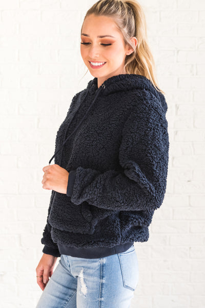 Navy Blue Soft Fluffy Cozy Warm Teddy Bear Hoodie Faux Fur