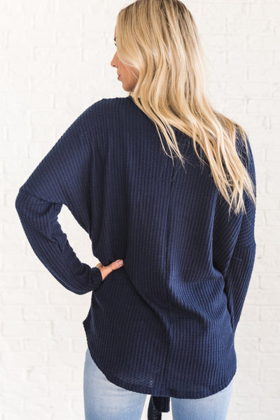 Navy Blue Cute Soft Cozy Waffle Knit Top with Long Sleeves and Front Knot