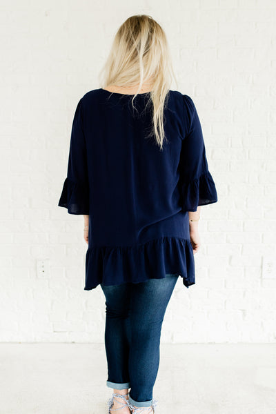 Navy Blue Longer Length Ruffle Tops Affordable Online Plus Size Boutique