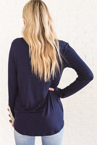Navy Blue Cute Long Sleeve Top Lace Button Accents Affordable Online Womens Boutique