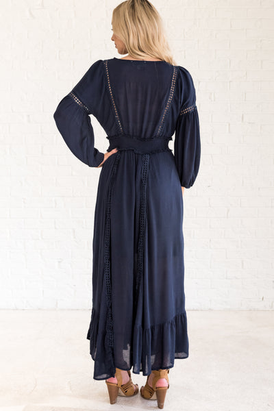 Navy Blue Long Full Floor Length Special Occasion Maxi Winter Dresses for Women