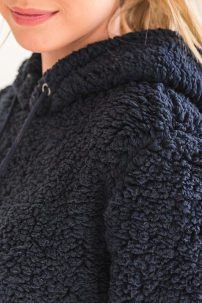 Navy Blue Soft Warm Cozy Fluffy Teddy Coat Jacket Hoodies Outerwear