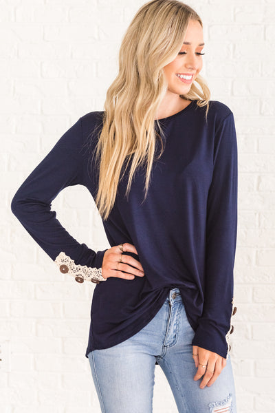 Dark Navy Blue Lace Button Sleeve Long Tops Affordable Online Boutique