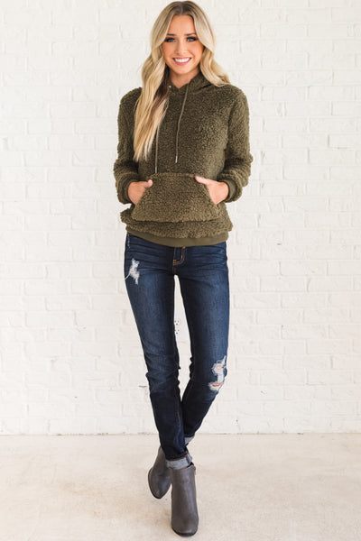 Olive Green Cute Teddy Hoodie with Soft Cozy Warm Faux Shearling