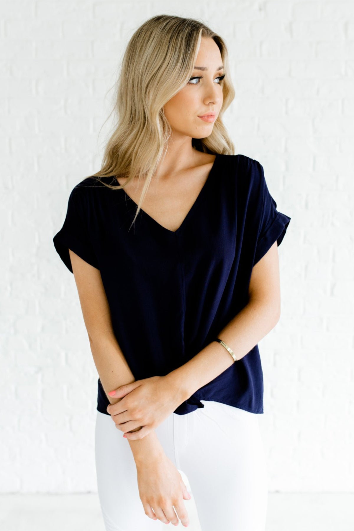 Navy Blue Infinity Knot Keyhole Back Cuff Sleeve Boutique Tops