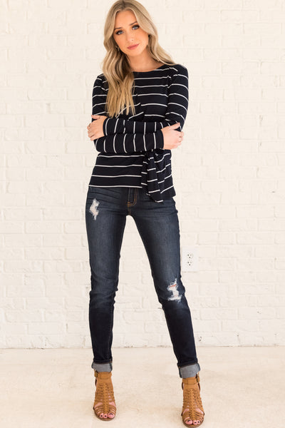 Navy Blue Striped Long Sleeve Front Knot Tops Affordable Online Boutique