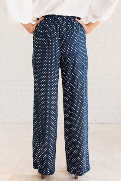 Navy Blue Polka Dot Tie Waist Lightweight Palazzo Pants