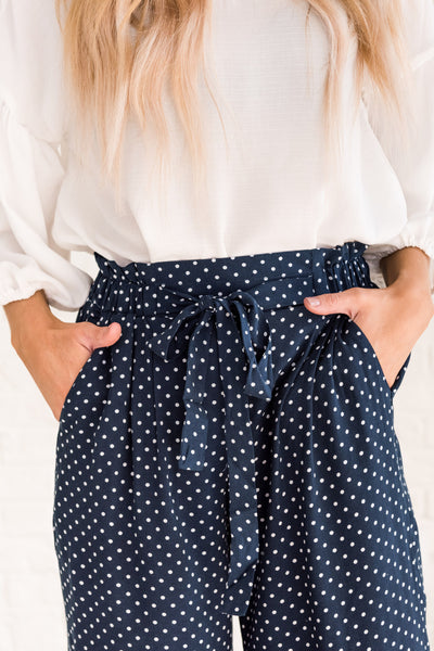Navy Blue Polka Dot Print Cute Boutique Palazzo Flare Pants for Women