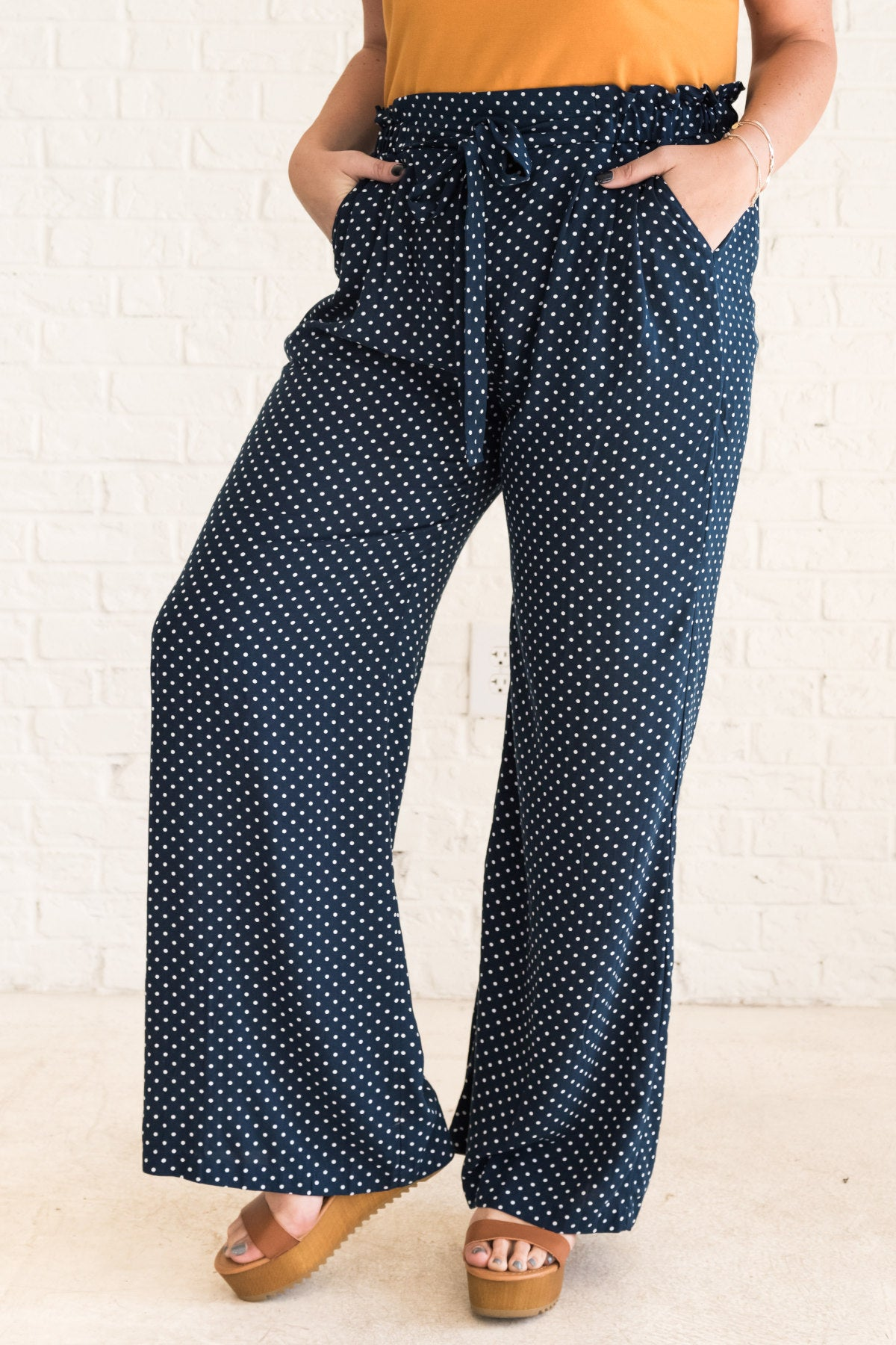 Navy Blue Plus Size Palazzo Pants with Flare and Polka Dots