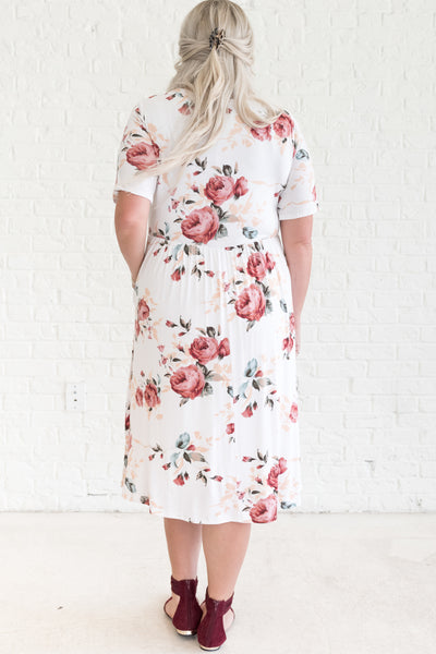 White Flowy Midi Dress